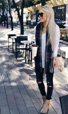 67690cd80f9 plaid scarf and booties Christmas Dinner Outfit Ideas