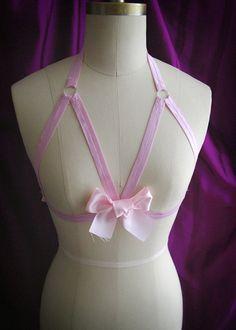 ad1aca219ddf9 DDLG Daddys Girl Body Harness Baby Pink Bow Stretch Cage Bondage Bra  Bralette