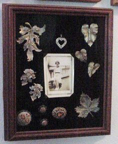 Grandma's costume jewelry displayed in a shadow box.
