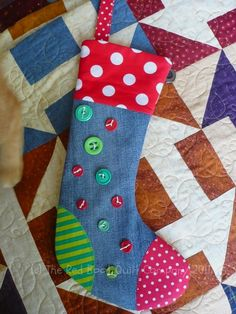 colorful denim stocking link is broken but just for inspiration i pinned it - Christmas Socks Decoration