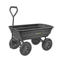 Garden-Cart-Dump-Wagon-Yard-Utility-Lawn-Heavy-Duty-Wheelbarrow-Steel-Trailer