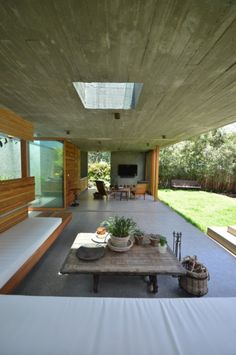 Concrete roof with sky light.