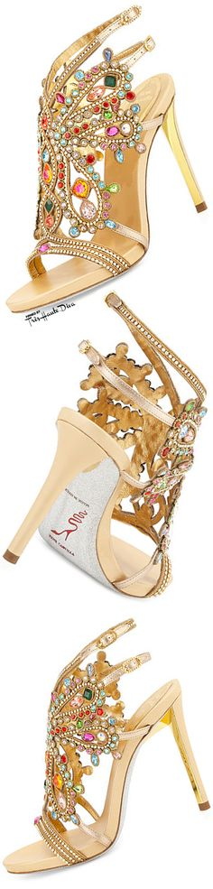 Rene Caovilla Multi-Crystal Strappy Sandal in Gold/Multi ♔THD♔