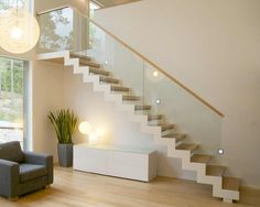 g02 vartiainen Interior Stairs, Room Interior Design, Interior Architecture, Cantilever Stairs, Stairways, My Dream Home, Living Room Furniture, Sweet Home, New Homes