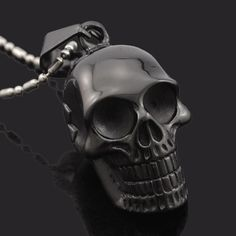 Biker Style Stainless Steel Skull Necklace