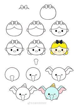 How to draw Tsum Tsum? Easy Disney Drawings, Easy Drawings Sketches, Cute Easy Drawings, Kawaii Drawings, Doodle Drawings, Pencil Drawings, Doodle Art For Beginners, Easy Doodle Art, Easy Drawing Tutorial
