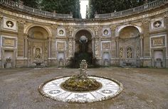 Gardens and Parks: The central water-theatre of the Villa Aldobrandini is the end of a long and dramatic water-axis of cascades, pools, grotesques and allegories. The layout from the end of the 16th century, by Carlo Maderno, is among the absolutely finest of its kind. Frascati, Lazio,. Italy