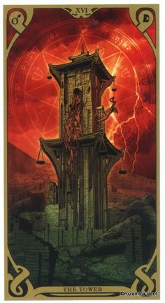 XVI. The Tower - Night Sun Tarot by Fabio Listrani
