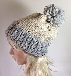 SALE Slouchy Hat Bobble Beanie Women's Knit Hat Chunky by ellinell