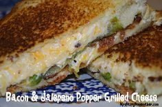 Bacon and Jalapeno popper grilled cheese - Italian loaf slices hold up well