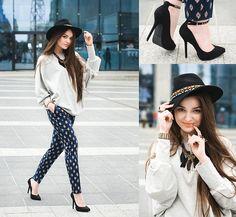 Zara Pants, H Hat, Zara Shoes, Zara Necklace, Merrin Bracelet, Pudle W Pudle Blouse, Pull Headband