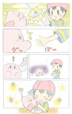 ness and kirby earthbound kirby crossover