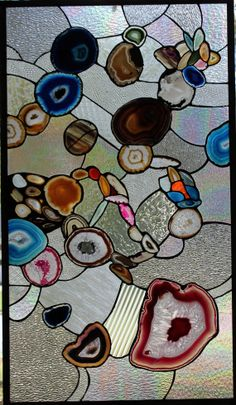 Large Stained Glass Window Leaded With Agate by MartianGlasswork