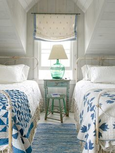 Decorating Ideas from a Nantucket Cottage Century-old quilts in Pinwheel (left) and Bear's Paw patterns dress these antique wrought-iron beds.Century-old quilts in Pinwheel (left) and Bear's Paw patterns dress these antique wrought-iron beds. Cottage Style Bedrooms, Coastal Bedrooms, White Bedrooms, Bedroom Country, Attic Bedrooms, Beach Bedrooms, Cozy Bedroom, Bedroom Decor, Design Bedroom
