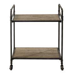 Metal and wood trolley on castors W 64cm