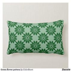 Green flower pattern lumbar pillow Lumbar Pillow, Throw Pillows, Green Cushions, Green Home Decor, Green Flowers, Custom Pillows, Flower Patterns, Art Pieces, Make It Yourself