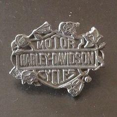 Vintage 80's Harley Davidson HD Motorcycle Bike Pewter Shield Pin Badge Factory