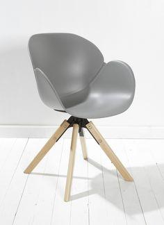 Designer Esszimmerstuhl Im Retrolook Grau Stuhl Mit Drehbarer Sitzschale