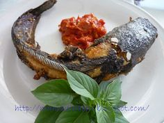 Pecel lele, fried catfish with sambal or hot and spicy condiment (East Java)