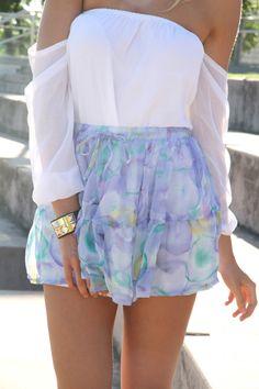 super mini chiffon tiered skirt. drawstring and stretch panel at waist.