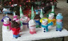 Snowmen made of paper rolls