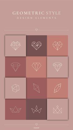 Bg Design, Design Elements, Graphic Design, Motif Art Deco, Diamond Logo, Geometric Heart, Floral Logo, Instagram Design, Minimal Logo
