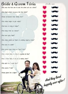 Bridal Shower game  ... Bride & Groom Trivia