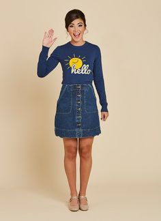 Catherine is a classic crew neck, long sleeve soft knit in navy blue. This vintage style slogan jumper has a sunshine and hello motif. Tees For Women, Pretty Outfits, Slogan, Denim Skirt, Vintage Inspired, Jumper, How To Look Better, Graphic Tees, Vintage Fashion