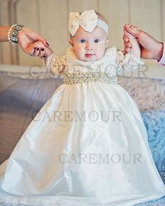 Caremour Christening gown, baptism dress, baby girl christening gown, baptismal