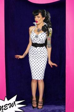Polka Dot Wiggle Dress by Deadly Dames.cute pin up dress for Halloween! Mode Vintage, Vintage Girls, Vintage Dresses, Vintage Outfits, Vintage Fashion, Estilo Pin Up, Rockabilly Pin Up, Rockabilly Fashion, Rockabilly Dresses