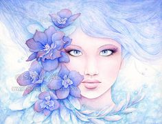 Fantasy Fairy Art & Mermaid Prints by Sarah Alden by ForeverFairy Watercolor Girl, Watercolor Portraits, Watercolor Flowers, Larkspur Flower, Mermaid Art, Mermaid Prints, Painting Of Girl, Fantasy Paintings, Lowbrow Art