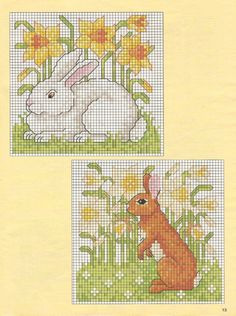 Cross-stitch Bunnies, part 2 ... no color chart available, just use pattern chart as your color guide.. or choose your own colors...   ...   Gallery.ru / Фото #12 - 11 - tatasha
