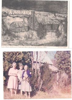 "Top is drawing of the ""Old Home Place of Abraham & Martha Ross"" Granny's grandparents.  Bottom is, left to right, Nellie Ross Brooks, Granny's sister, Irene Ross, Granny's brother Charley's wife, and Granny visiting the Ross house in the 1930's."