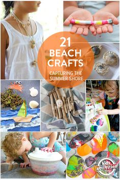 Capturing The Summer Shore With 21 Beach Crafts For Kids using Shells, Rocks and Other Beach Finds. Free natural beach finds so perfect for timeless, treasured craft activities Beach Crafts For Kids, Beach Kids, Summer Activities For Kids, Summer Kids, Craft Activities, Diy For Kids, Kids Crafts, Baby Crafts, Fun Beach Activities For Kids
