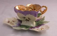 Pansy Teacup and Saucer