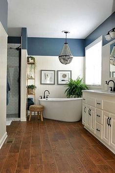 Bathroom Design Ideas Navy blue and white master bathroom designs.Navy blue and white master bathroom designs.Awesome Bathroom Design Ideas Navy blue and white master bathroom designs.Navy blue and white master bathroom designs. Bathroom Renos, Bathroom Renovations, Home Remodeling, Bathroom Ideas, Bathroom Cabinets, Decorating Bathrooms, Budget Bathroom, Bathroom Vanities, Bathroom Remodeling