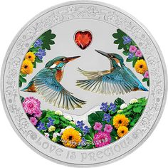 Kingfishers_Love is Precious 1 oz Silver Coin Proof Niue 2018 Silver Dollar Coin, Silver Coins, Mint Shop, Silver Bullion, Proof Coins, Flower Stamp, Rare Coins, Border Design, Silver Bars