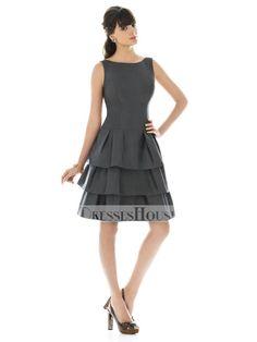 A-Line Bateau Neckline Strapless Knee Length Taffeta Bridesmaid Dress  BD10245