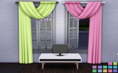 Movie Hangout Curtains in 12 Nyren Kosmik Colors. http://pinksprites.tumblr.com/post/138167490180/update-white-pole-version-is-now-fixed-and