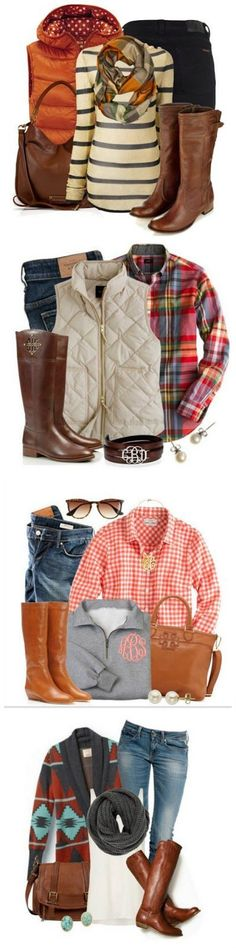 Cozy Fall Fashion. I love all these Fall Outfits! Brown boots Aztec sweater Puffy vest