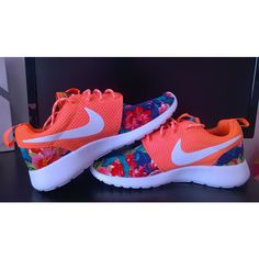 Custom Nike Roshe Run Sneakers Athletic Sport Shoes Coral Color With... ($90) ❤ liked on Polyvore featuring shoes, athletic shoes, grey, women's shoes, flower pattern shoes, coral shoes, running shoes, flower print shoes and athletic footwear