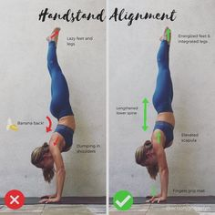 """4,153 Likes, 72 Comments - Yoga and Barre Instructor (@actionjacquelyn) on Instagram: """"Alignment of a Handstand! I've been covering a lot of inversion tips these last couple of weeks,…"""" #yogatutorials"""