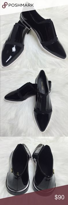 NEW: CALVIN KLEIN Black Patent Leather Oxfords NEW: CALVIN KLEIN Black Patent Leather Oxfords- Size 7.5. New without box or tags. Stylish and Unique!! Calvin Klein Shoes Flats & Loafers