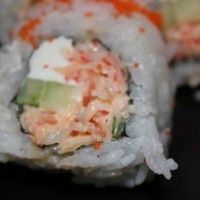 Sushi recipe. Spicy Crab with cucumber and cream cheese. (I'll never make this but yuummmm)
