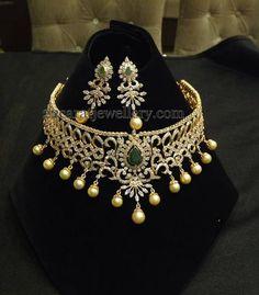 Jewellery Designs: 100 Grams Elegant CZ Necklace