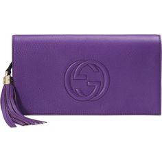 Gucci Soho Leather Clutch Bag ($850) ❤ liked on Polyvore featuring bags, handbags, clutches, purple, gucci handbags, purple leather purse, leather handbags, leather flap purse and purple leather handbag