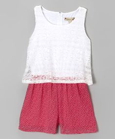 Look what I found on #zulily! Pink & White Lace Layered Romper by Speechless #zulilyfinds