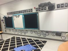 Love the black/white/turquoise.  Student work will really pop on these bulletin boards.