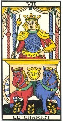 Interprétation de l'arcane du Chariot dans le jeu du Tarot de Marseille - Apprendre le Tarot de Marseille, le Tarot Divinatoire
