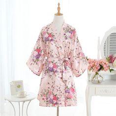 Sexy Pink Plus Size Brides Wedding Robe Dress Women's Elegant Print Satin Nightwear Flowers Kimono Bathrobe Gown Pajamas G09